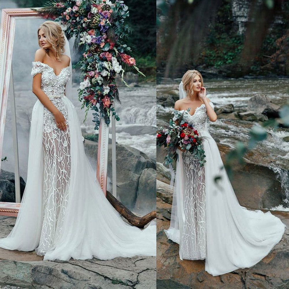 Off the shoulder bohemian wedding dress  Details about Luxury Wedding Dress With Train Off Shoulder White