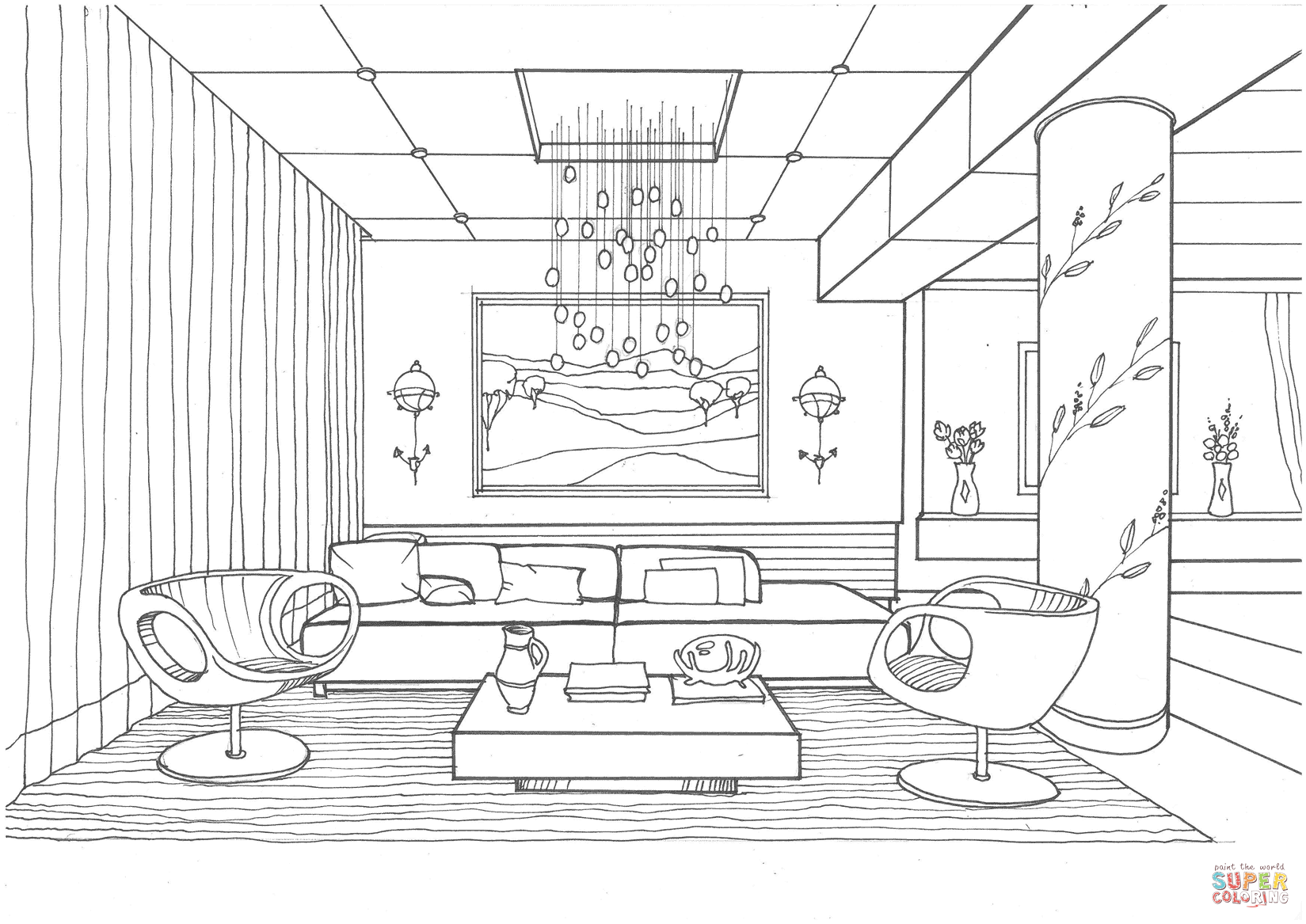 Living Room with Fireflies coloring page  Free Printable Coloring