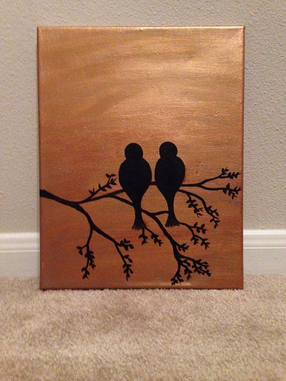 Gold background with two birds on a tree branch canvas with acrylic 11x14 please allow 1 3 days for painting and 1 3 days for shipping