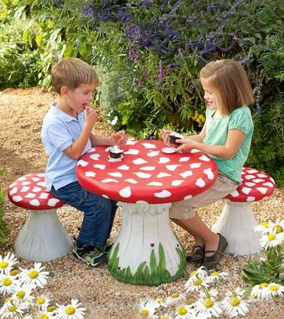 Handpainted Mushroom Table and Set of 4 Stools Special  sc 1 st  Pinterest & but rounder and fewer spots for table ... chairs would be leaves ...