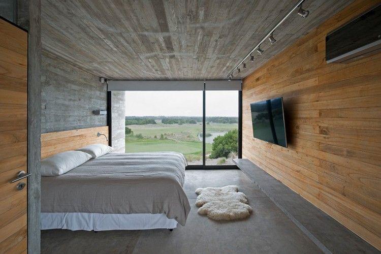 Schlafzimmer Design mit Beton für Boden und Decke und Holz für die ...