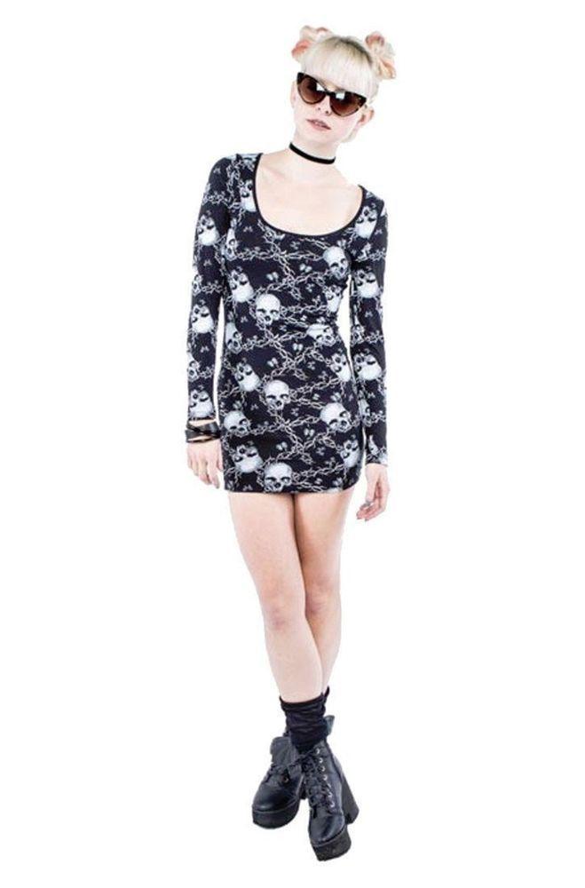 Women\'s Iron Fist Barbed Wire Bodycon Dress Skulls Punk Goth | Iron ...