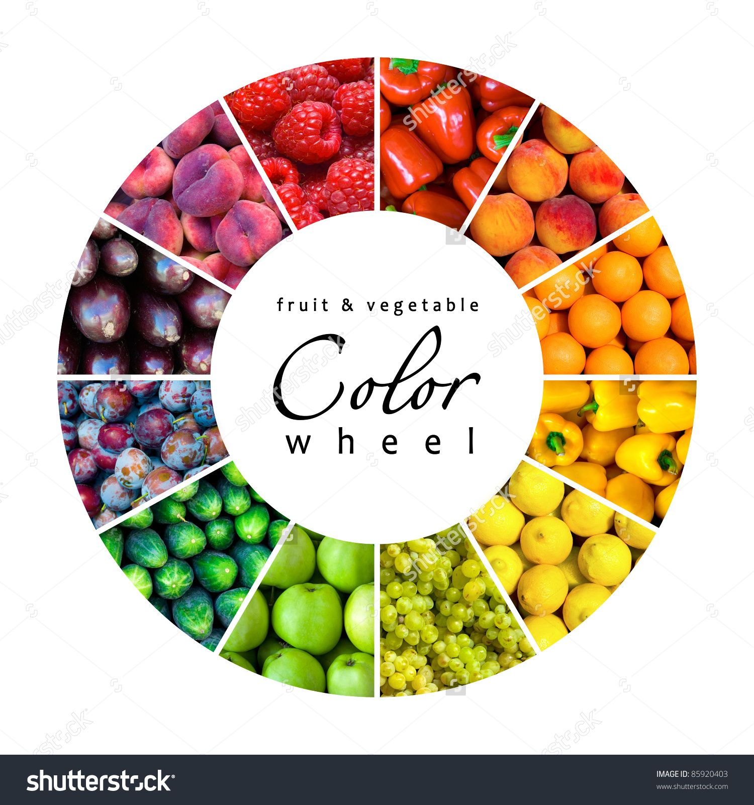 Fruit Vegetable Color Wheel 12 Colors Stock Illustration 85920403