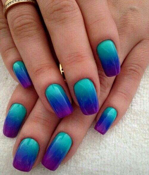 Creme Gradient In Aqua Medium Blue Violet Beautiful Colour Combination Ombre Nail Art Designs Cute Nail Art Designs Nail Art Ombre