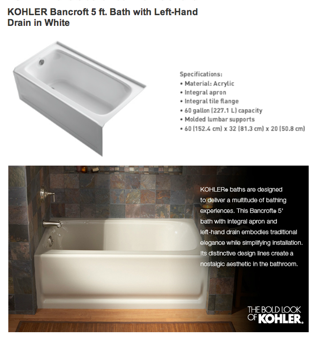 KOHLER Bancroft 5\' Bathtub $540. After using now for 10 months, I ...