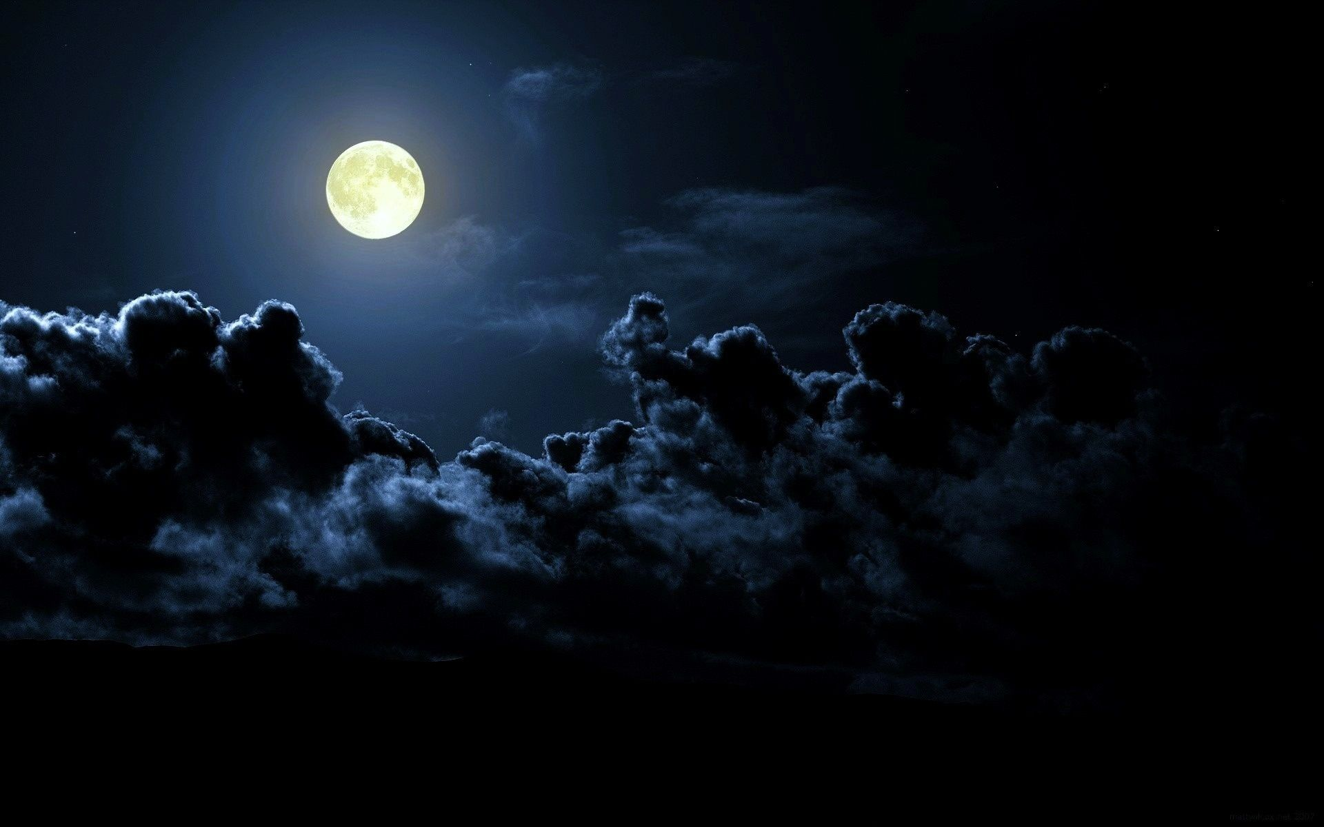 night moon dark clouds