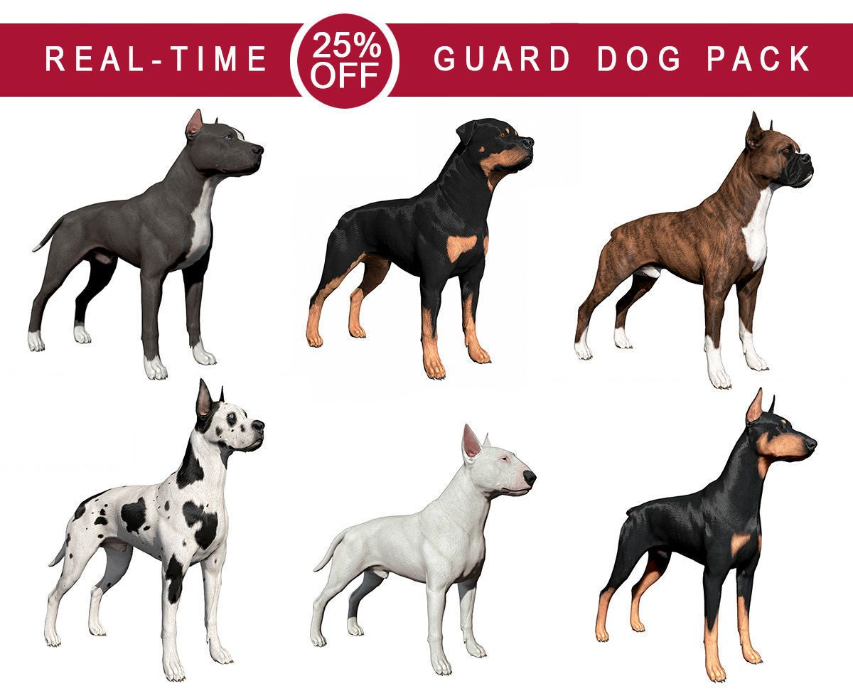 Guard Dog Pack 3d Model Dogs I Love Dogs Big Puppies