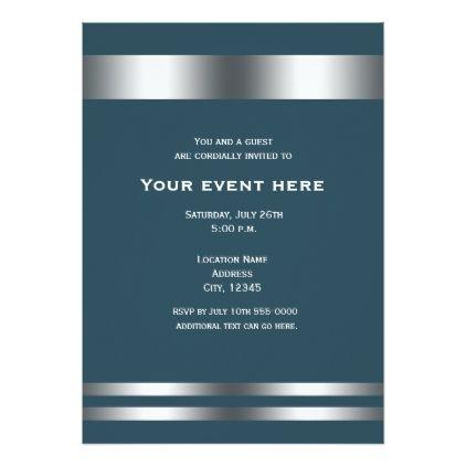 blue grey silver elegant dinner party event invitation birthday