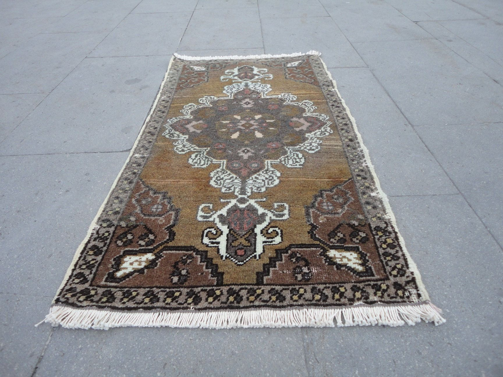 Door Mat Pale Turkish Rug Hand Knotted Small Rug Entryway Gift Carpet 86 X 48 Cm 3 X 1 6 Feet Vintage Rug Low Pile Rug Bathroom Rug