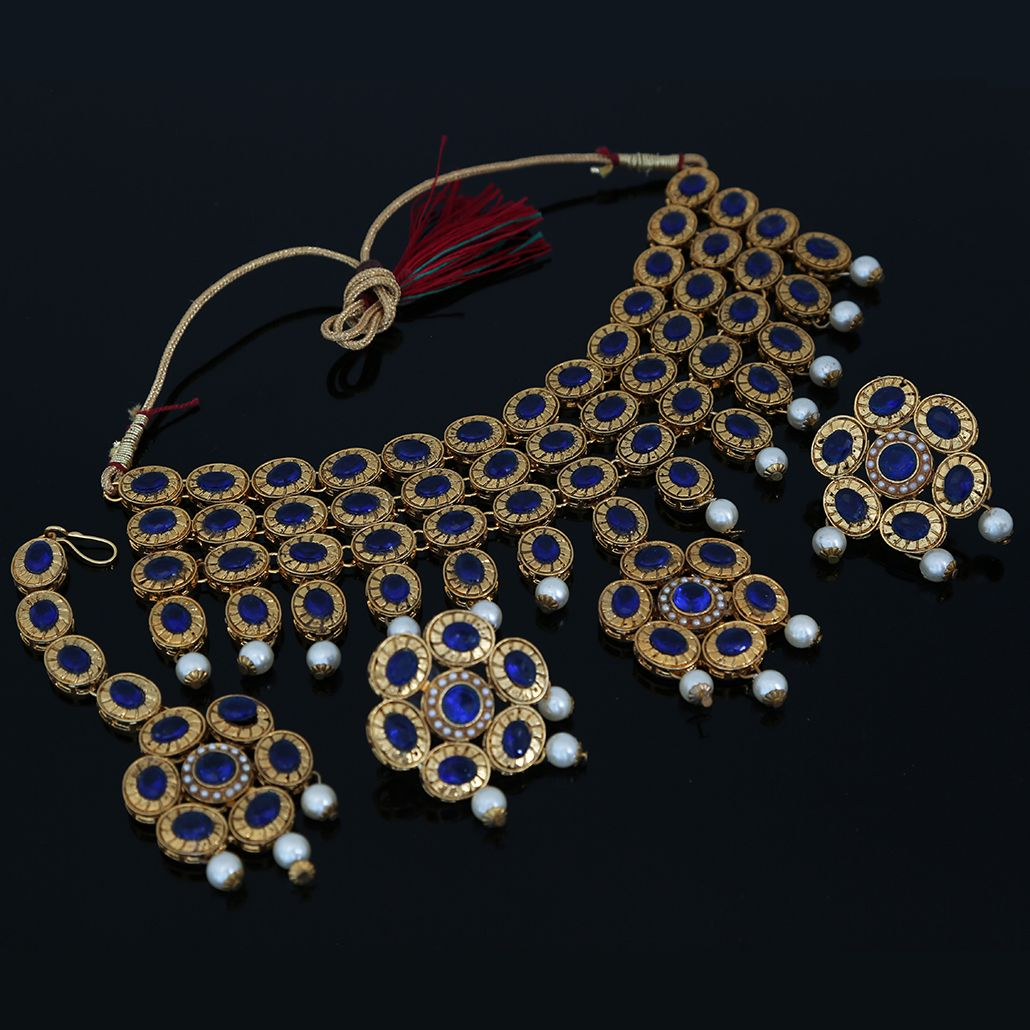 Deepika Padukone Reception Style Blue Kundan Stone Studded ...