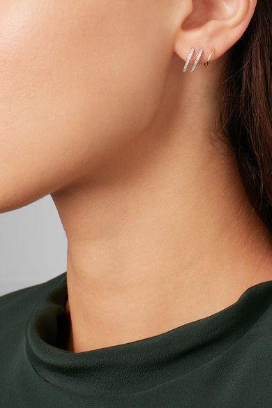 Maria Black Bess Blanc Twirl 18-karat Gold, Rhodium-plated And Diamond Earring