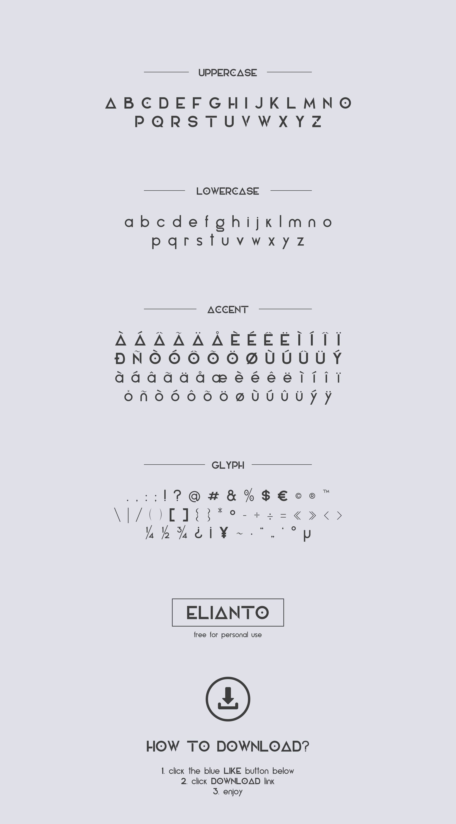 Design of Elianto, free sans serif font for personal use.Hope you like it!