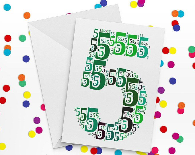 Fifth Birthday Card Number Five Card Fifth Wedding Annniversary