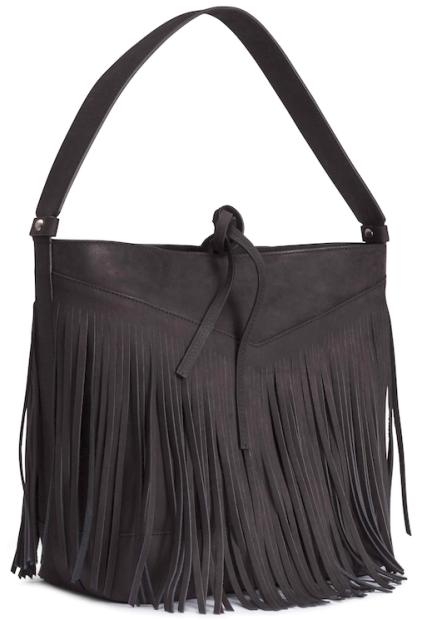 nouveau produit 4fbfc 92f63 sac seau en cuir noir à franges, soldes h&m   sacs   Bags ...