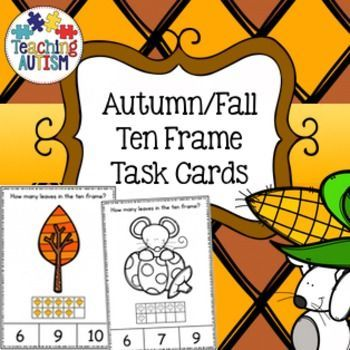This download includes task cards with ten frames 0 - 10. Students have to count how many leaves are in ten frame and then select the correct answer out of 3 choices on the bottom of the task card.Come in color/colour and black and white option. All graphics are linked to the season of Autumn / Fall.Instructions are included on the first page of PDF file. 2 task cards come on each page.