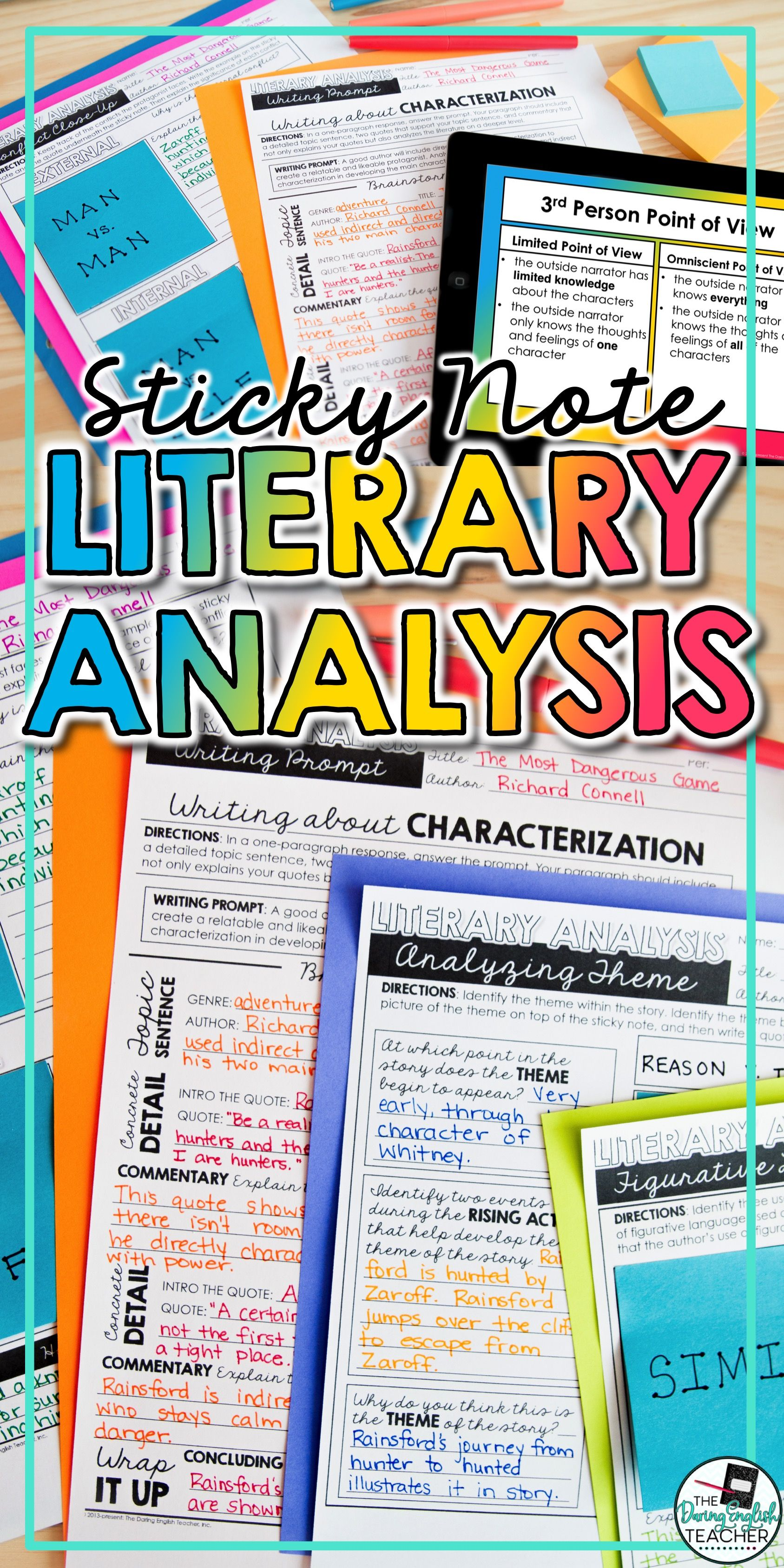 Literaryysis With Sticky Notes Activities Writing