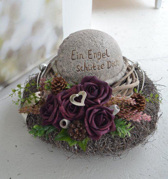 Tomb arrangement of All Saints double wreath Dekokugel An angel protect you 30 cm #friedhofsdekorationenallerheiligen