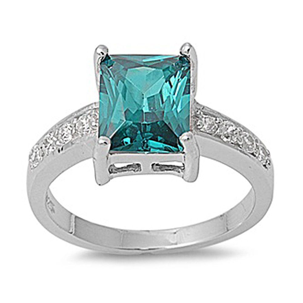 Sterling Silver Blue Topaz and Clear CZ Stone Ring - size5
