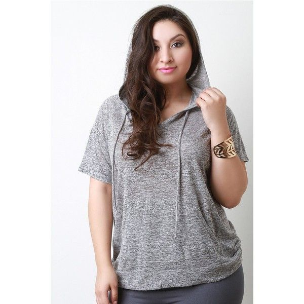 Melange Hoodie Tee ($34) via Polyvore featuring tops, plus size tops, rayon tops, women's plus size tops, jersey top and short sleeve tops