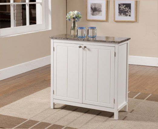 11999 Kings Brand White With Marble Finish Top Kitchen Island