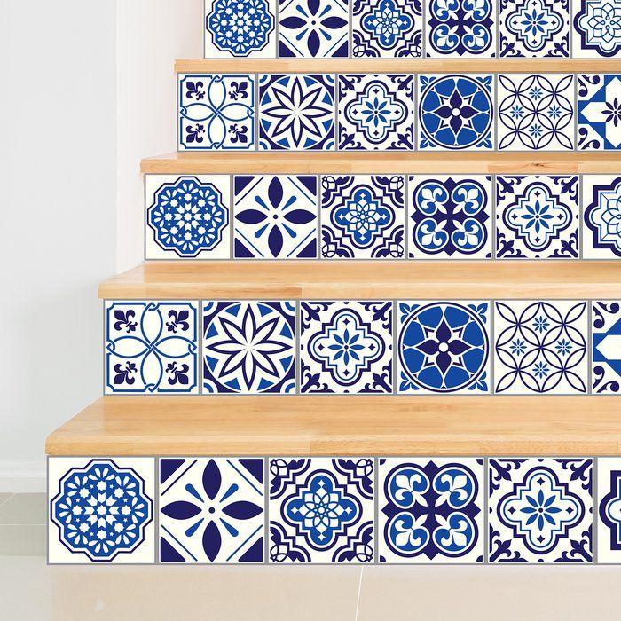 Stickers 23 7 W X 35 5 L Pvc Peel Stick Mosaic Tile In Spanish Moroccan Blue Spanish Tile Mosaic Tiles Mosaic Tile Stickers