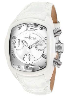 Invicta Women's Lupah/Revolution Chronograph Silver Dial White Genuine Leather