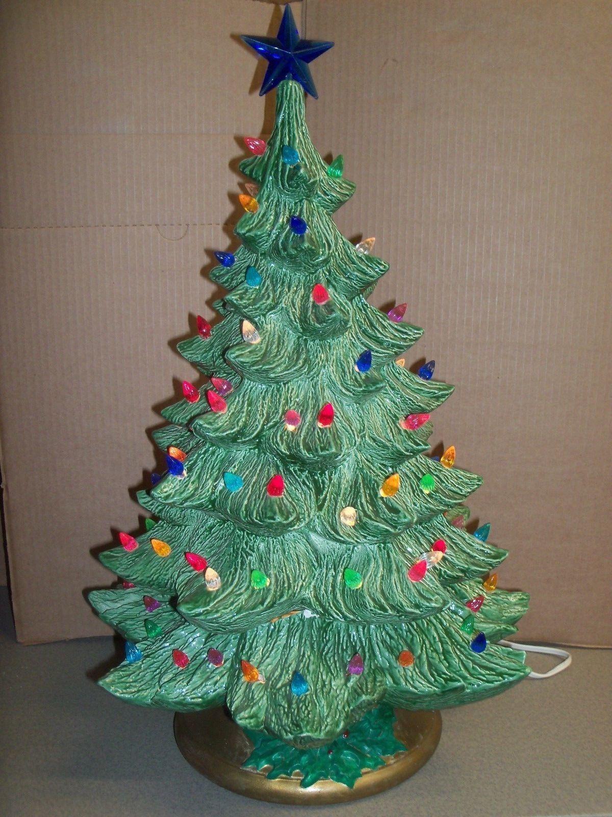 Vintage 22 Ceramic Tabletop Lighted Christmas Tree W Multi Colored Twist Bulbs Christmas Tree Lighting Christmas Christmas Tree