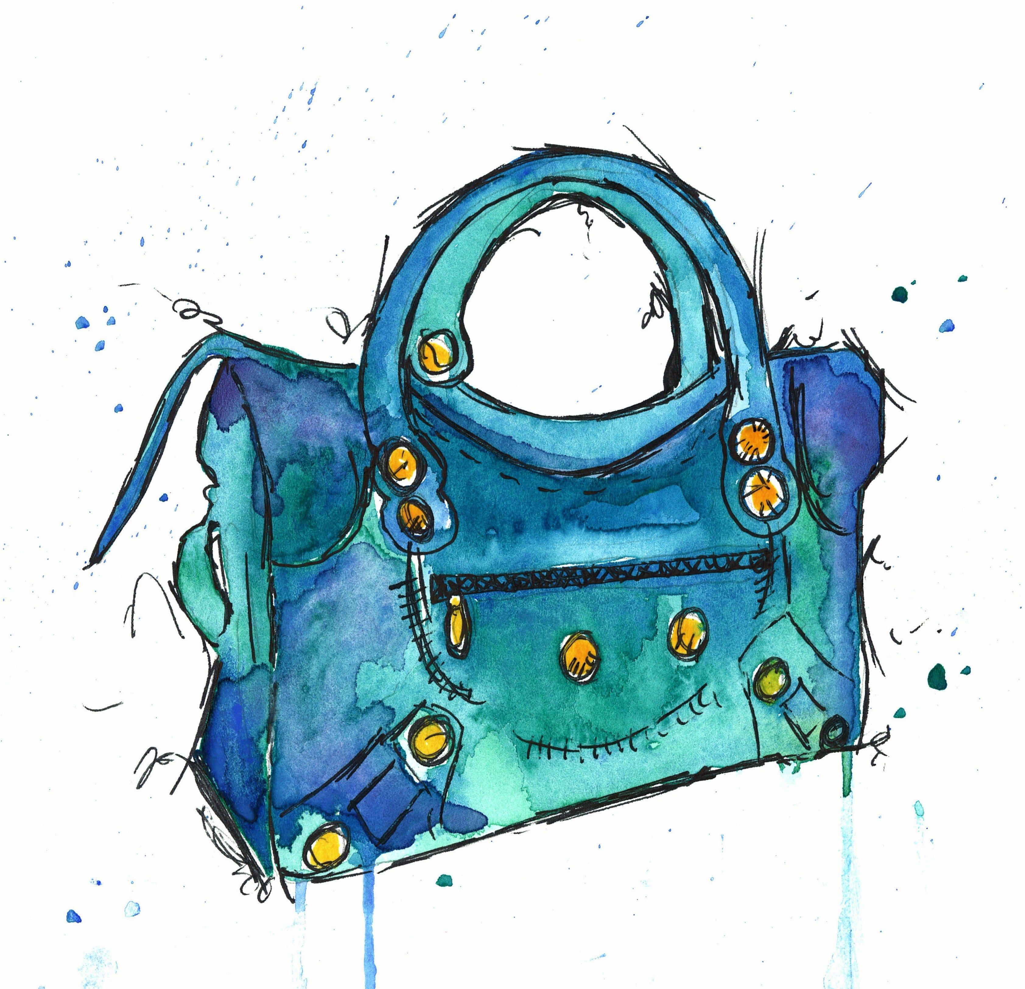 i painted this #balenciaga moto bag, love the teal and ...  watercolor purse diagram #10