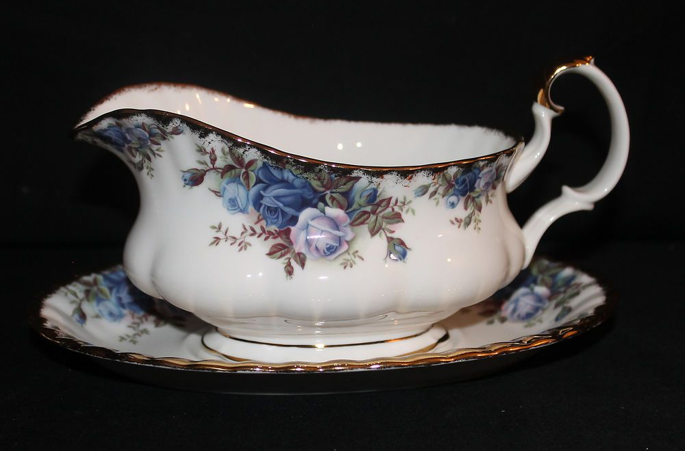 """Royal Albert China """"Moonlight Rose"""" Gravy Boat with Underplate"""