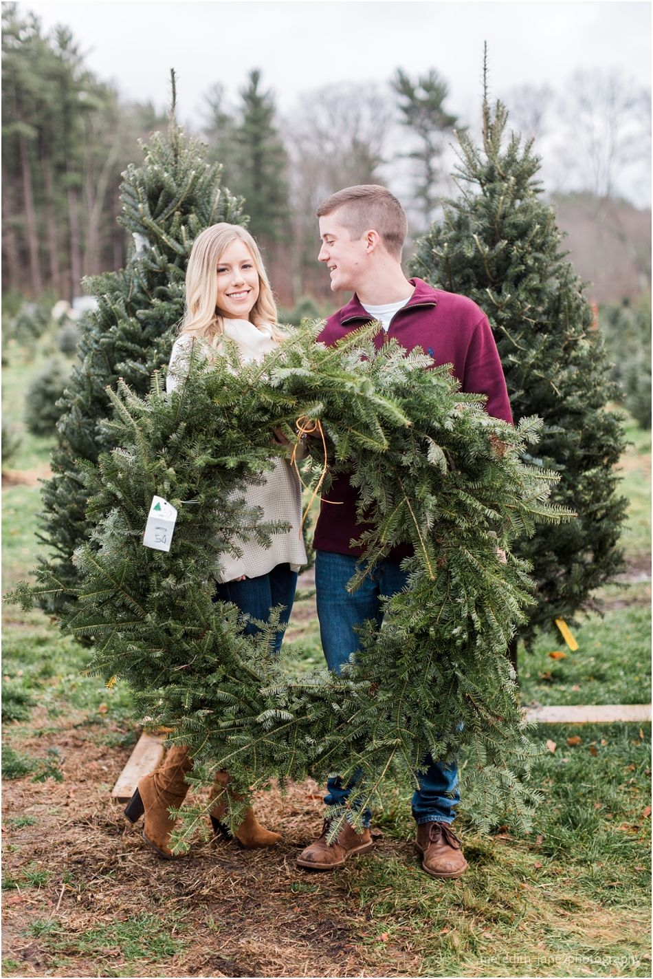 Mistletoe Acres Tree Farm Engagement Meredith Jane Photography Tree Farms Christmas Kiss Acre