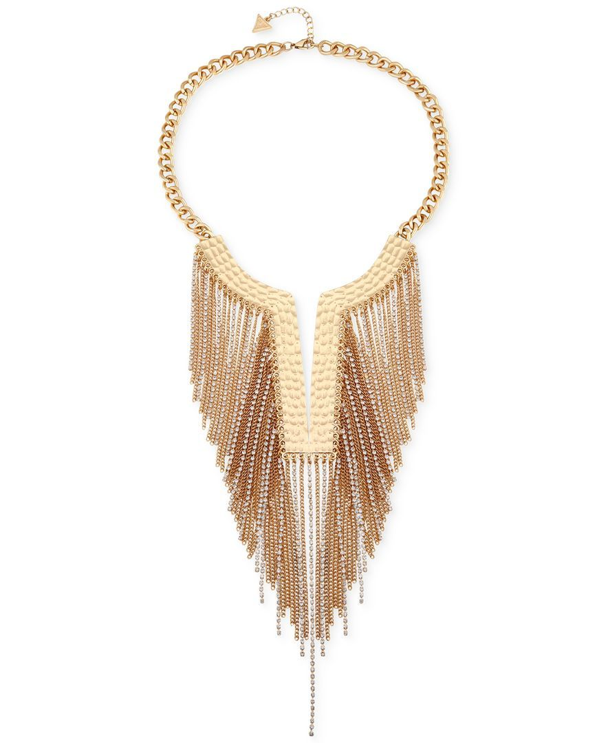 Guess goldtone fringed chain frontal necklace fringeus lovers