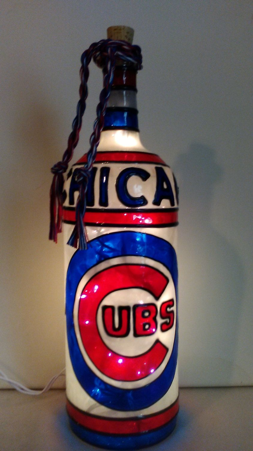 Chicago Cubs Inspired Hand Paintedwine Bottle Stained Glass Etsy Chicago Cubs Lighted Wine Bottles Chicago Cubs Baseball