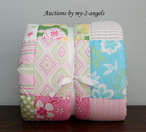 Pottery Barn Kids Key West Patchwork Twin Quilt Pink Girls: Pottery Barn Kids Key West Tropical Hawaiian Twin Quilt