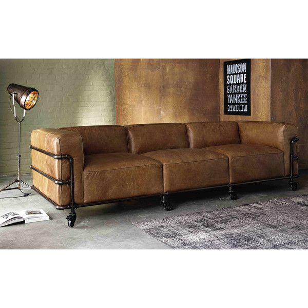 4 Sitzer Sofa Im Industriestil Aus Leder Havannafarben Maisons Du Monde Diy Furniture Couch Vintage Sofa Furniture
