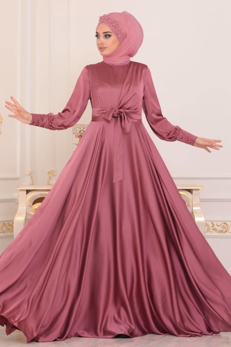 Tesetturlu Abiye Elbise Krep Saten Gul Kurusu Tesettur Abiye Elbise 1420gk Tesetturisland Com The Dress Elbise Aksamustu Giysileri
