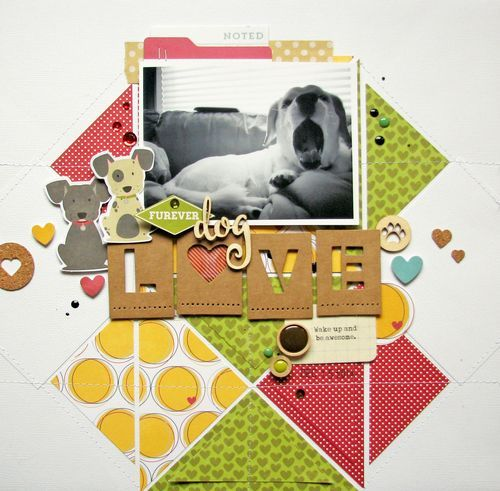 Furever Dog Love Layout by Nicole Nowosad featuring Jillibean Soup Fur Fusion and Alpha Tiles