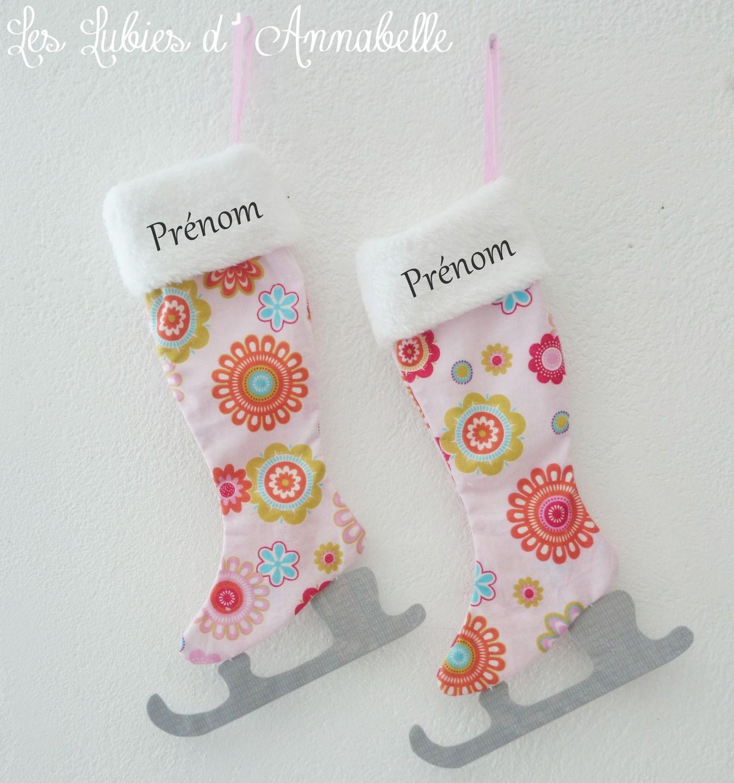 chaussette de no l ou patin glace tilda tissu girly personnalisable mode filles par. Black Bedroom Furniture Sets. Home Design Ideas