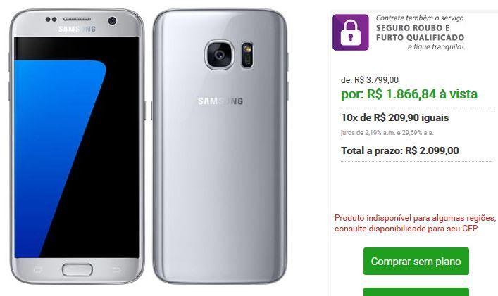 Samsung Galaxy S7 com Tela de 5.1 4G 32 GB e Câmera de 12 MP - 4 Cores Disponíveis << R$ 186684 >>