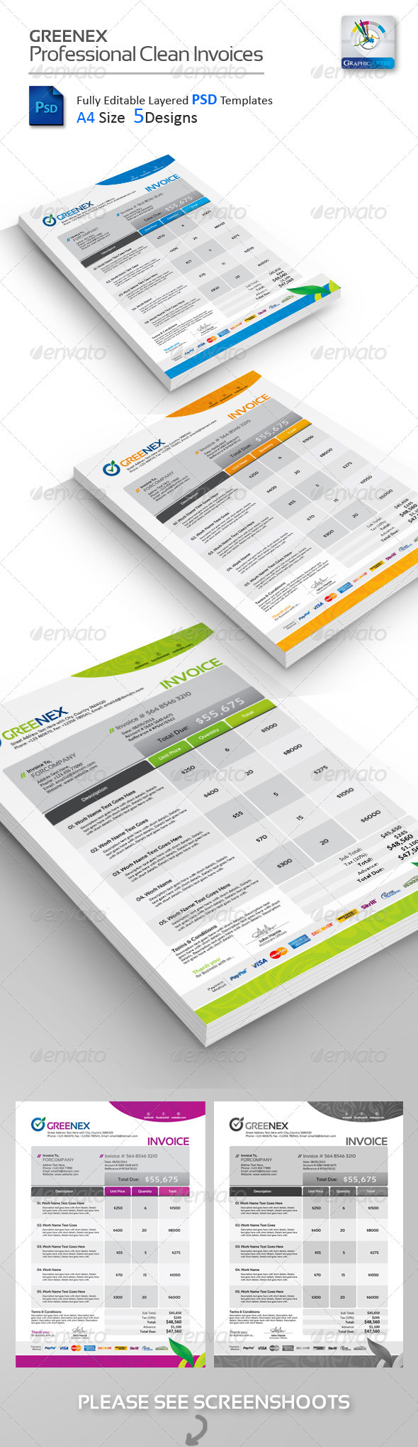 buy greenex creative psd invoices by graphicartist on graphicriver greenex creative invoices psd templates professional invoice psd templates in 5