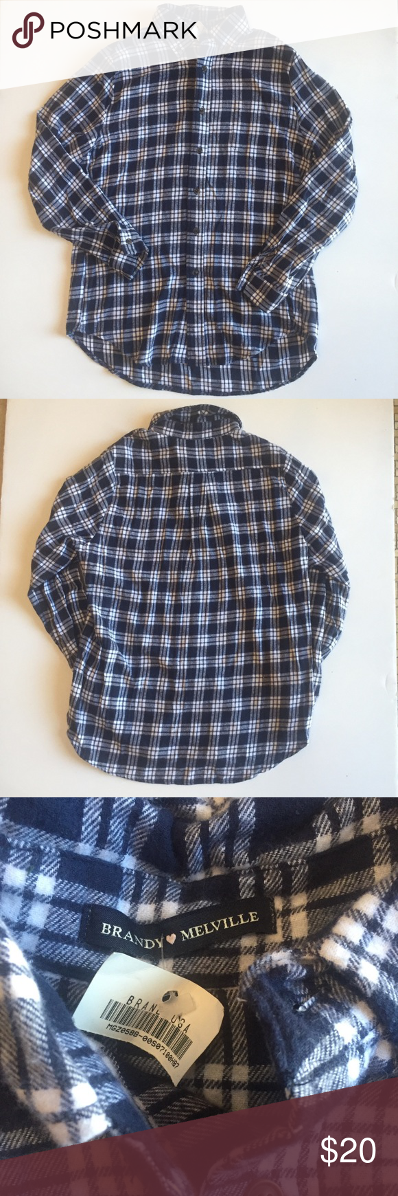 676472312aa NWT Brandy Melville flannel long sleeve blue NWT Brandy Melville Flannel  Long Sleeve Warm and comfy Flat lay Measurements  Armpit to Armpit  20 in  Length  ...