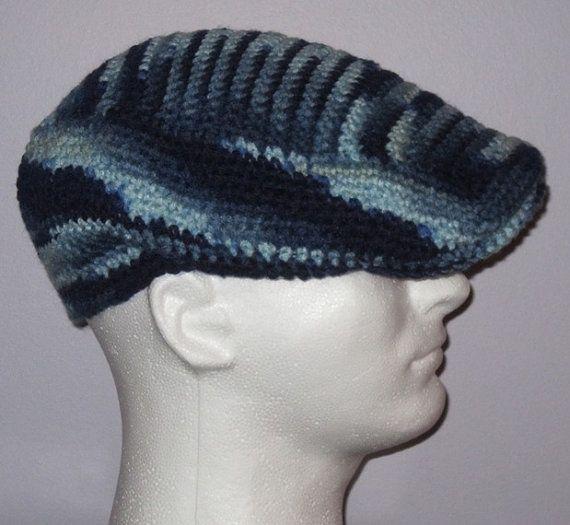 Crochet Newsboy Hat   Cap  Blue - Crochet Kangol Inspired Cap - Men ... c78aa4ef8e1