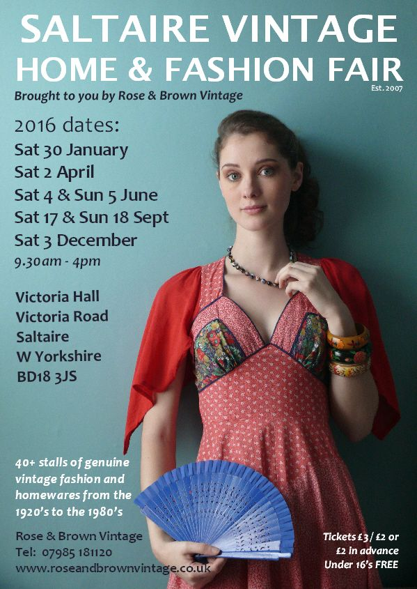 2016 flyer for Saltaire Vintage Home & Fashion Fair. Model: Rose Muirhead,  photography