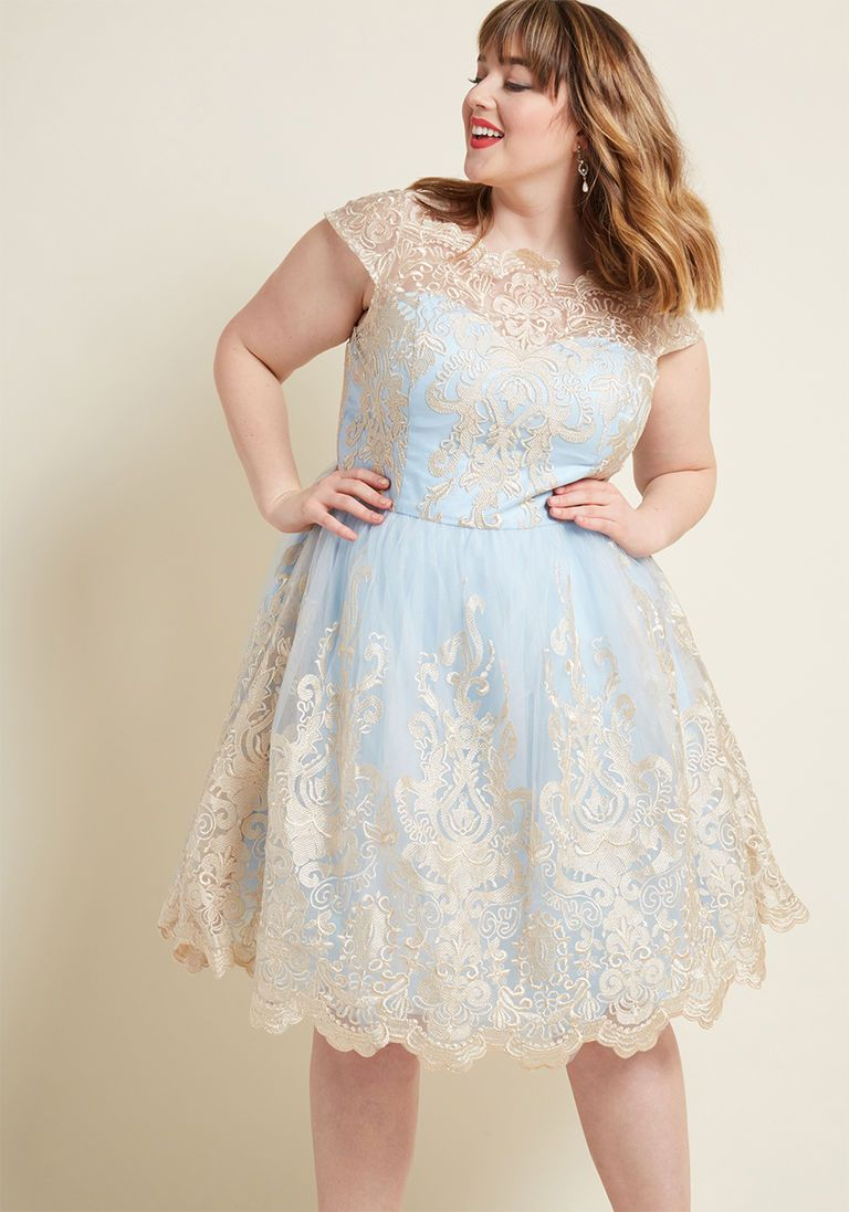 c46bc784cb3 Chi Chi London Exquisite Elegance Lace Dress in Sky in 2 - Cap Fit   Flare  Midi by Chi Chi London from ModCloth