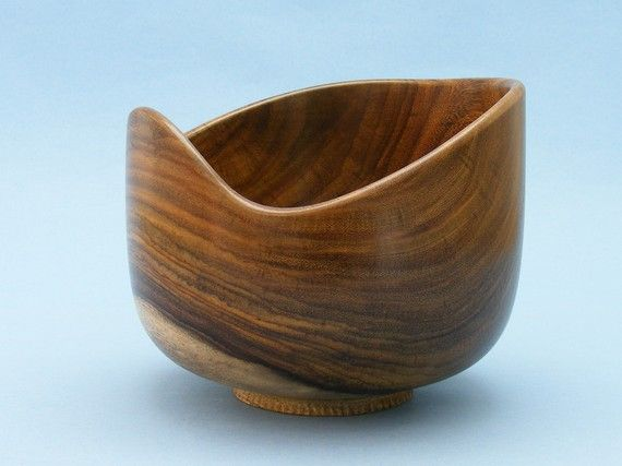 Wooden Bowl Wood Serving Bowl Live Edge Chocolate and by AmysWoods