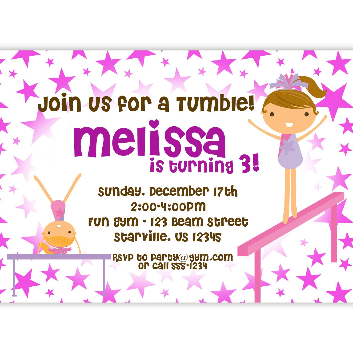 Gymnastic Invitation - Fun Purple Stars Girl Gymnast Personalized ...