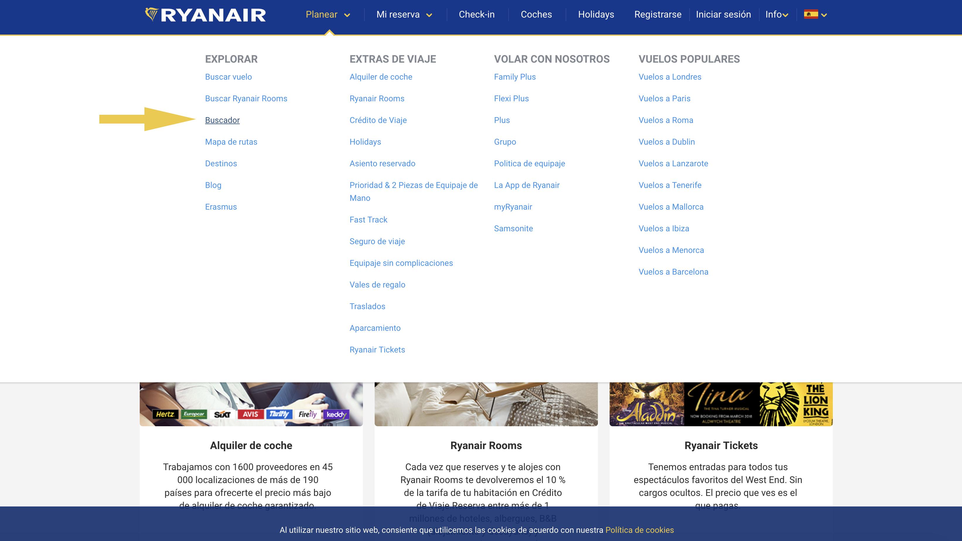 Buscador vuelos Ryanair