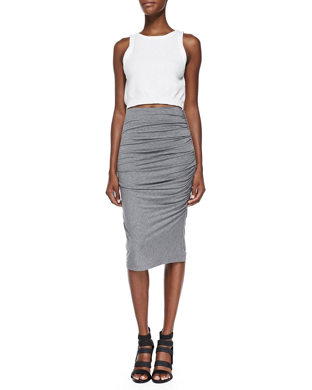 Gathered Slub Pencil Skirt