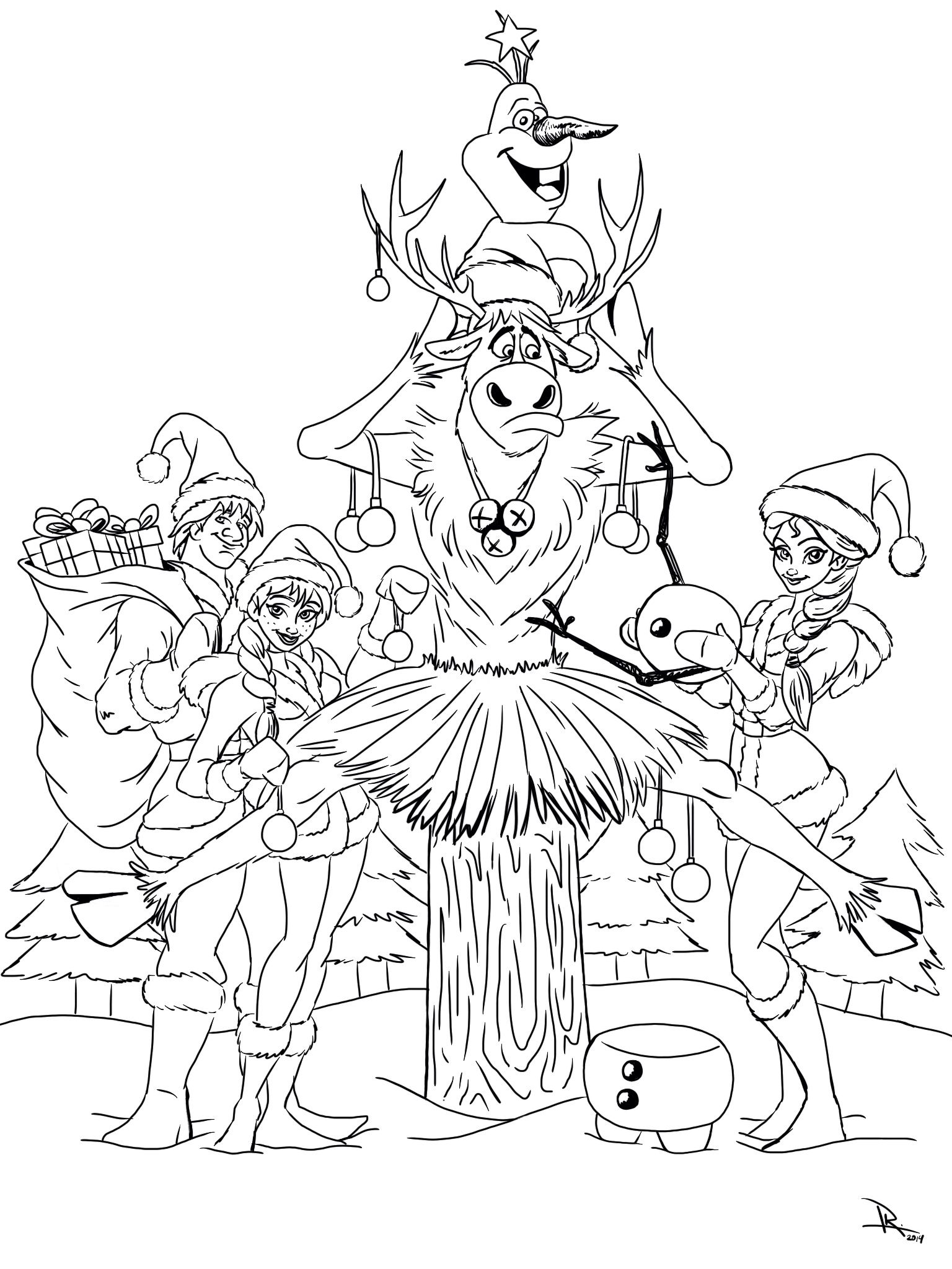 Christmas Disney Frozen Coloring Pages