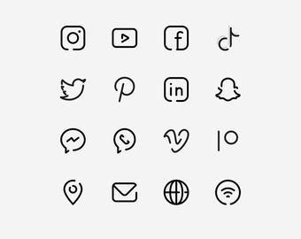 50 Essential Social Media & UI Icons / Minimalist