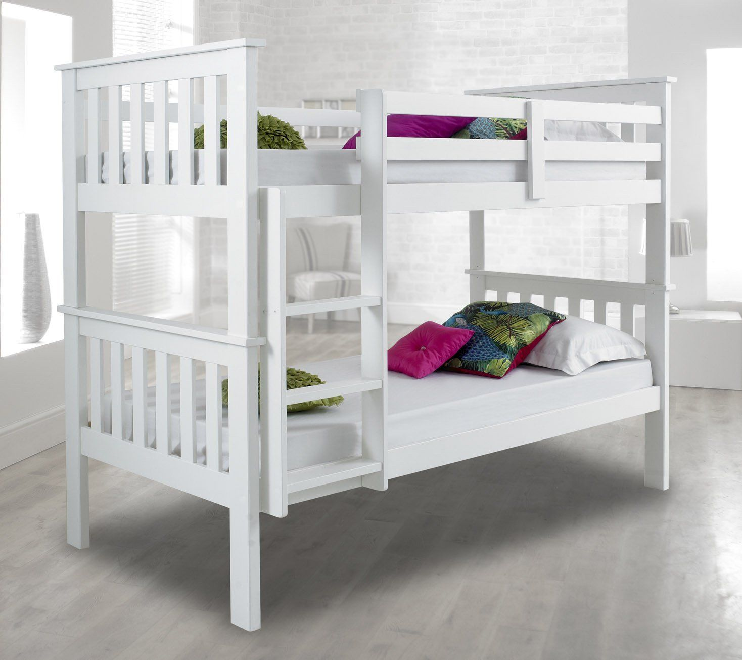 atlantis pinewood white bunk bed two sleeper quality solid pine wood